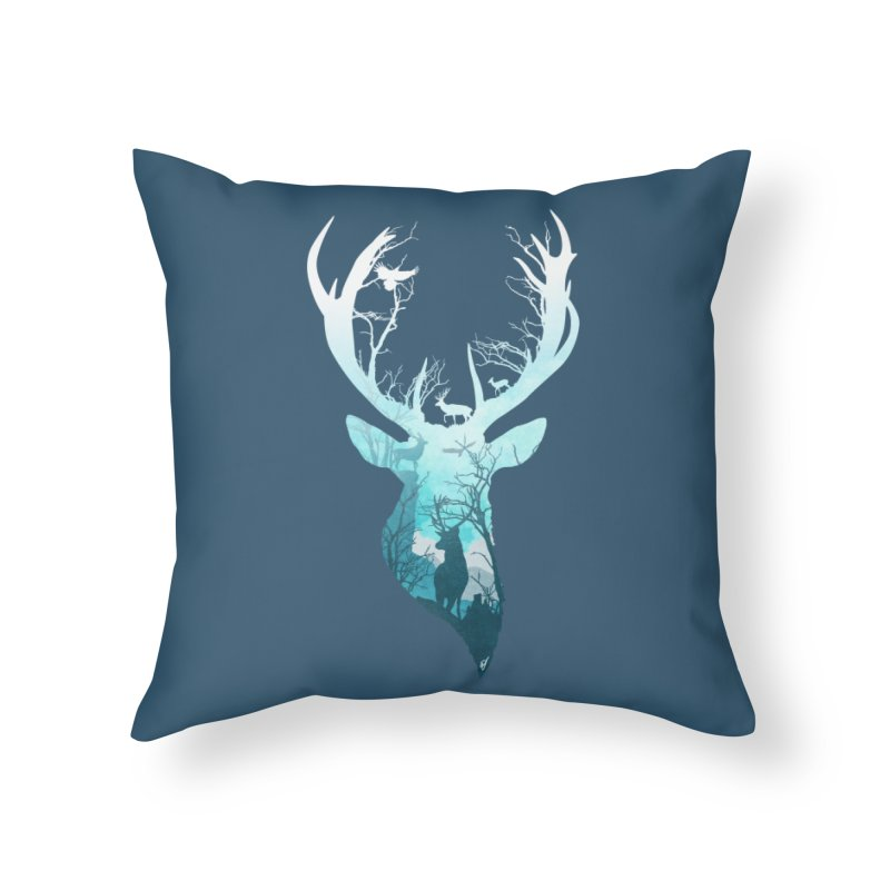 Deer Blue Winter Home Throw Pillow by DVerissimo's
