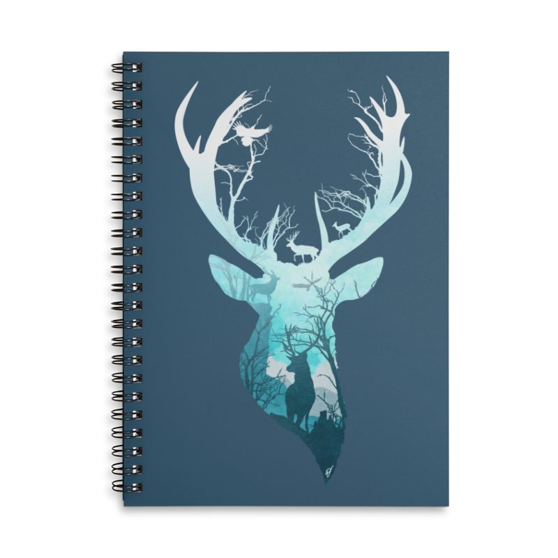 Deer Blue Winter Accessories Lined Spiral Notebook by DVerissimo's