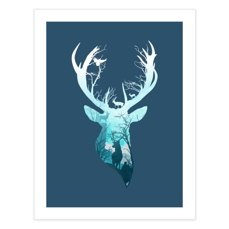 Deer Blue Winter Home Fine Art Print by DVerissimo's