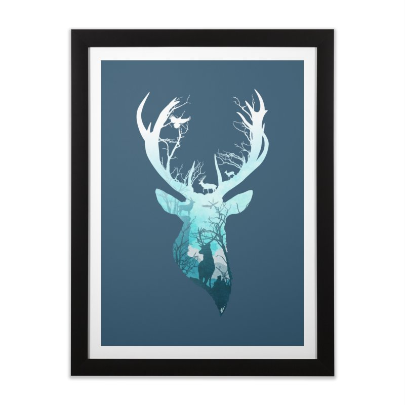 Deer Blue Winter Home Framed Fine Art Print by DVerissimo's