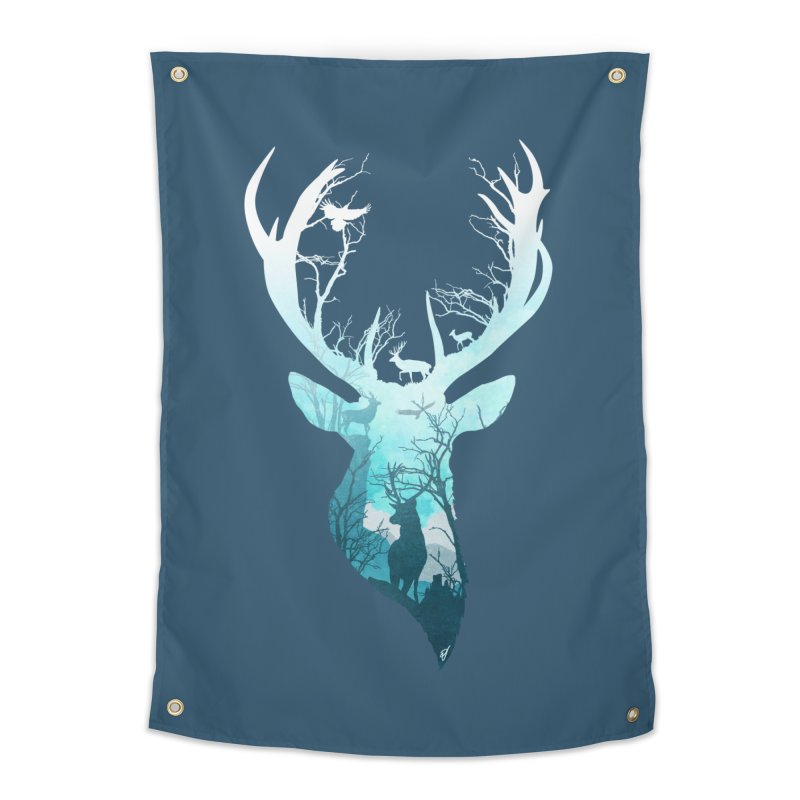 Deer Blue Winter Home Tapestry by DVerissimo's