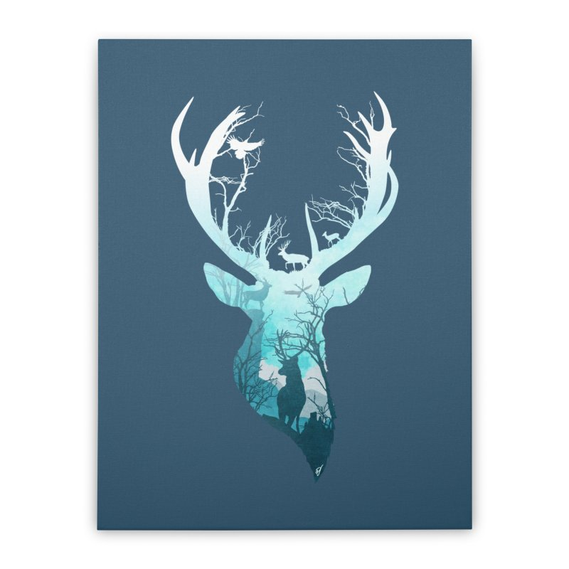 Deer Blue Winter Home Stretched Canvas by DVerissimo's