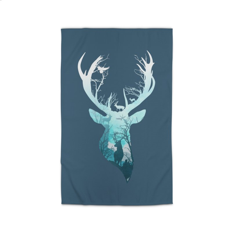 Deer Blue Winter Home Rug by DVerissimo's