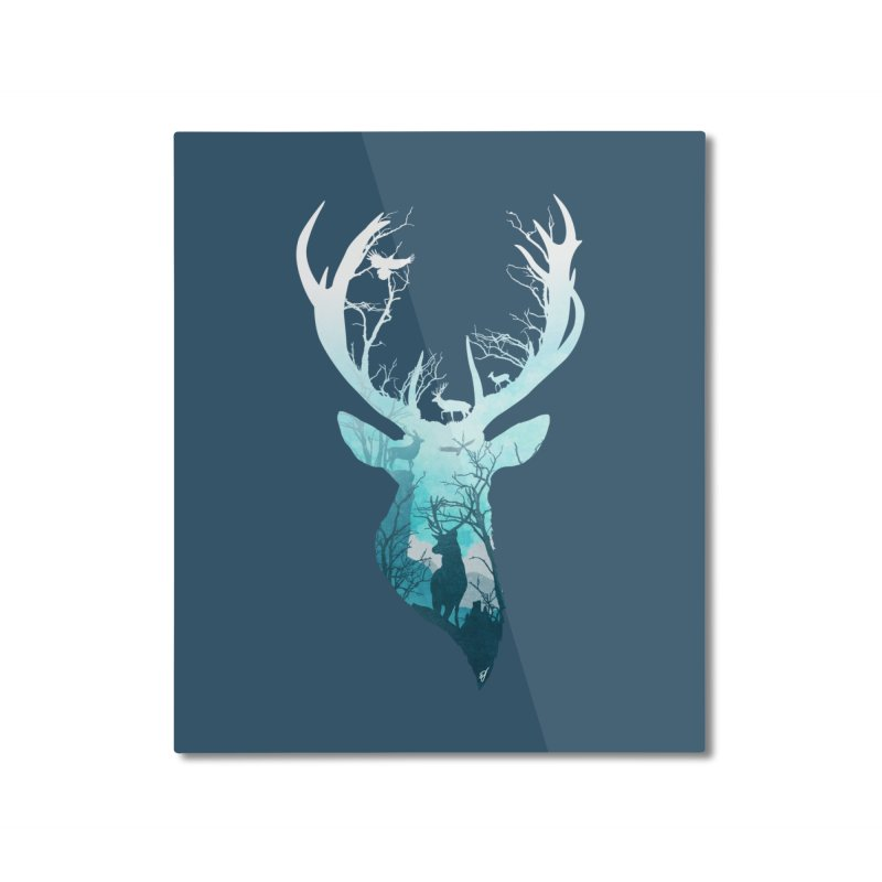 Deer Blue Winter Home Mounted Aluminum Print by DVerissimo's