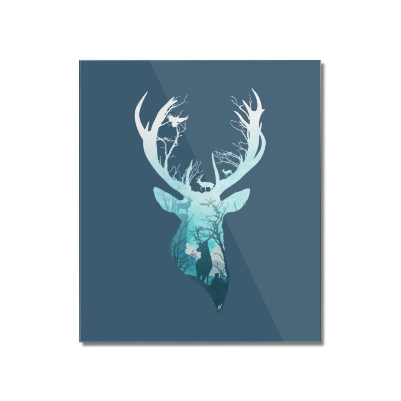 Deer Blue Winter Home Mounted Acrylic Print by DVerissimo's