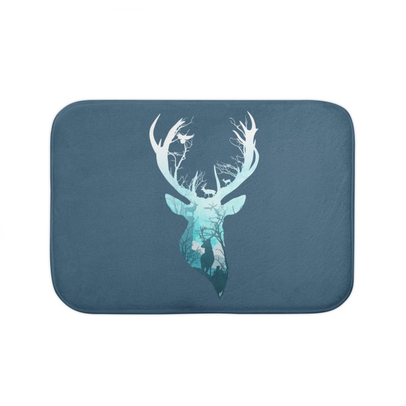 Deer Blue Winter Home Bath Mat by DVerissimo's