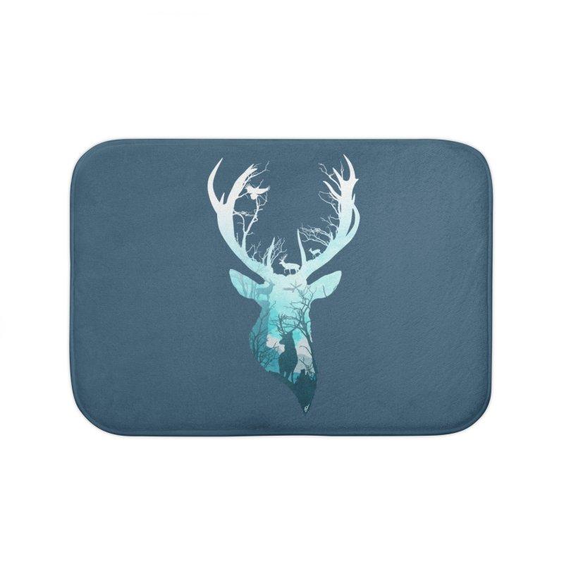 Deer Blue Winter Home Bath Mat by DVerissimo's