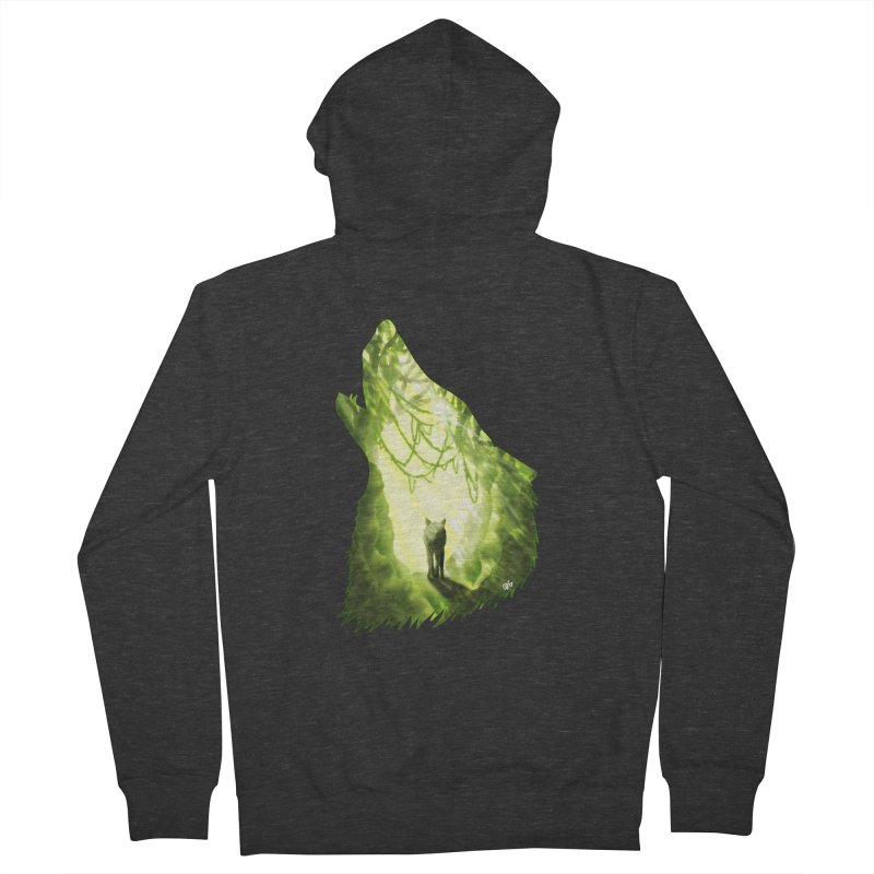 Wolf's Forest Men's French Terry Zip-Up Hoody by DVerissimo's