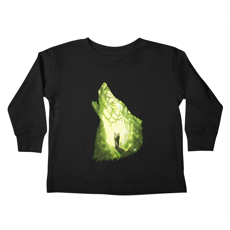 Wolf's Forest Kids Toddler Longsleeve T-Shirt by DVerissimo's