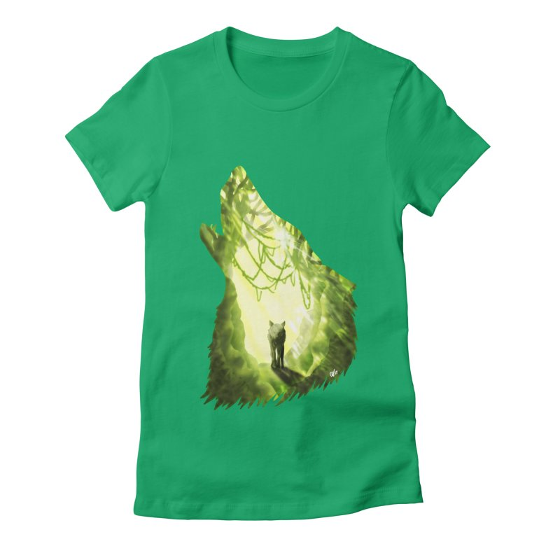 Wolf's Forest Women's Fitted T-Shirt by DVerissimo's