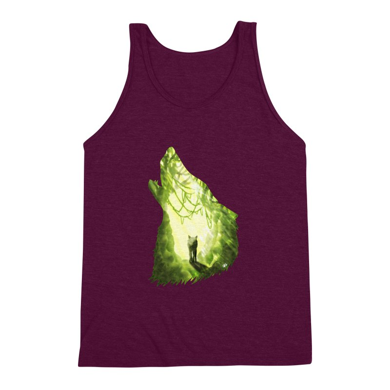 Wolf's Forest Men's Triblend Tank by DVerissimo's