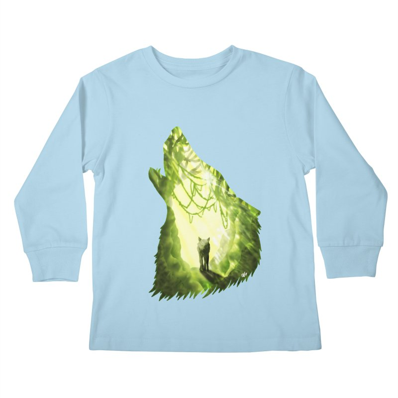 Wolf's Forest Kids Longsleeve T-Shirt by DVerissimo's