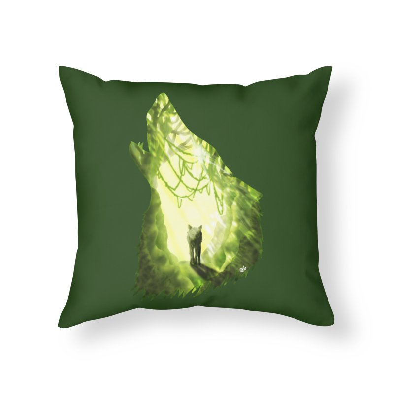 Wolf's Forest Home Throw Pillow by DVerissimo's