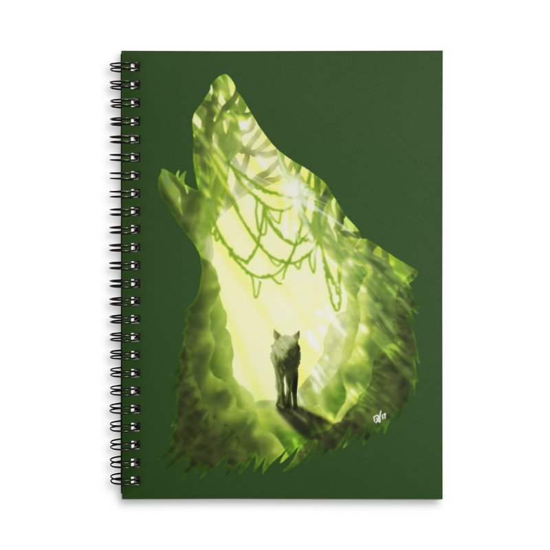 Wolf's Forest Accessories Lined Spiral Notebook by DVerissimo's