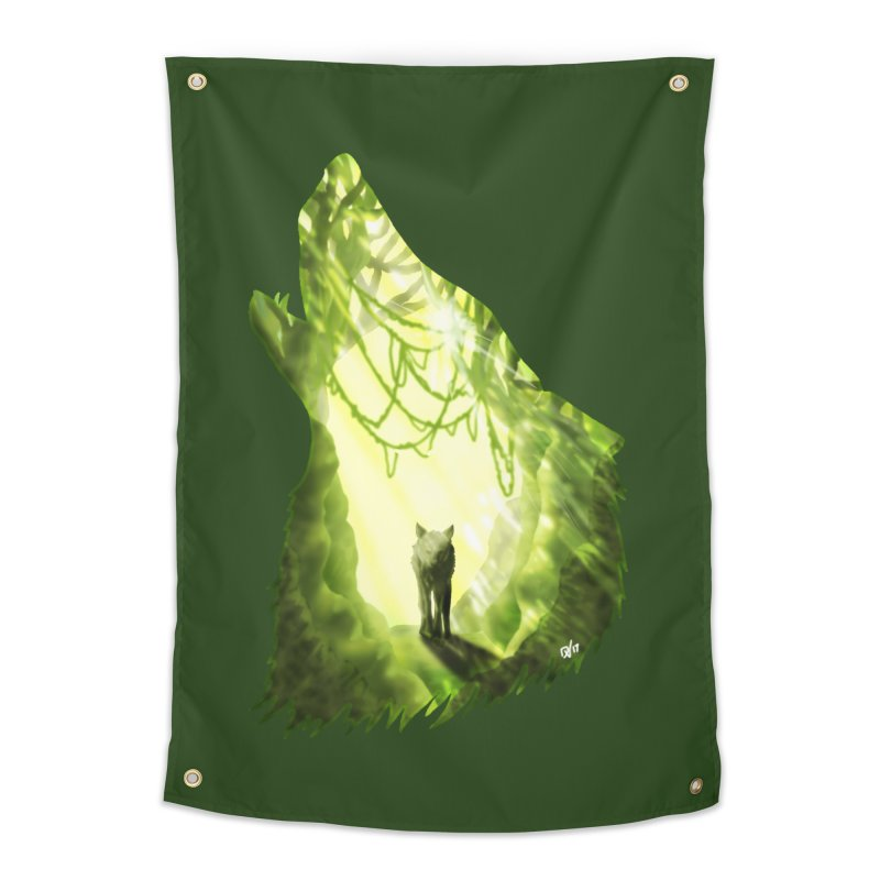 Wolf's Forest Home Tapestry by DVerissimo's