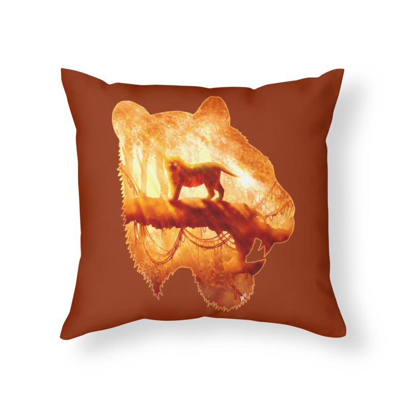 Tiger's Jungle Home Throw Pillow by DVerissimo's