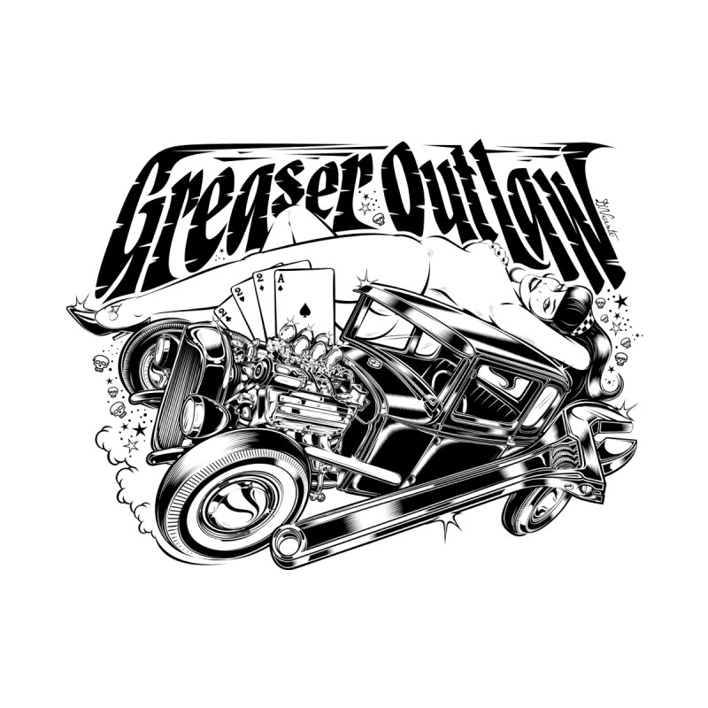 GREASER OUTLAW Women's Fitted T-Shirt by Copyright  David Vicente © 2016  -  All rights res