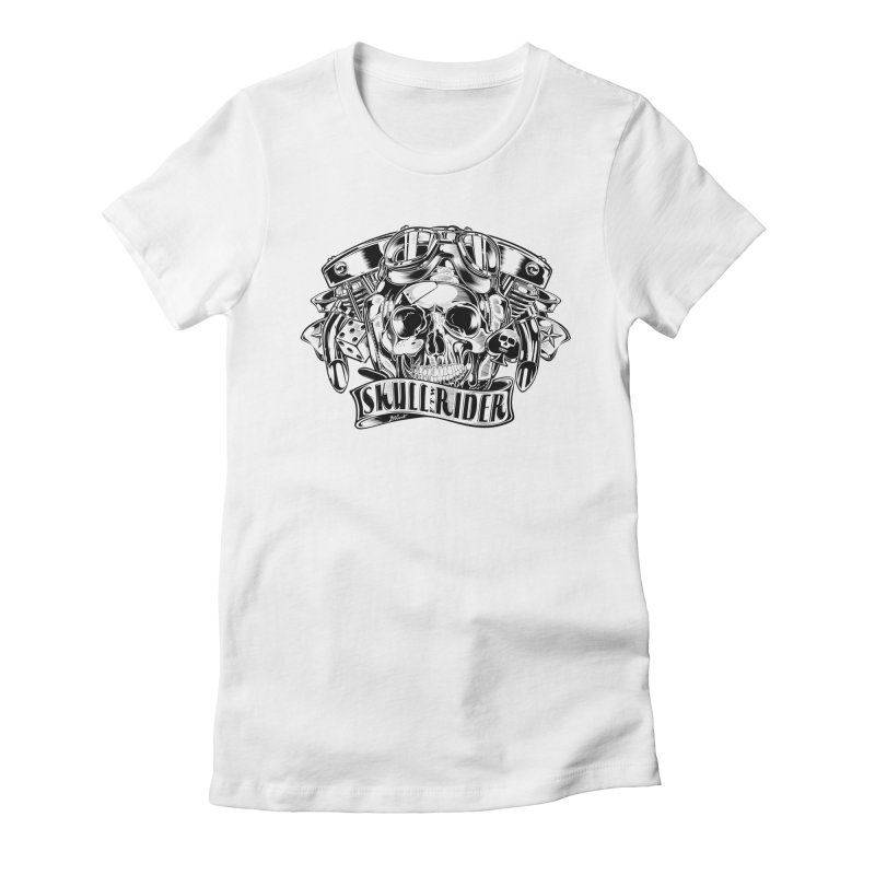 SKULL RIDER Women's Fitted T-Shirt by Copyright  David Vicente © 2016  -  All rights res