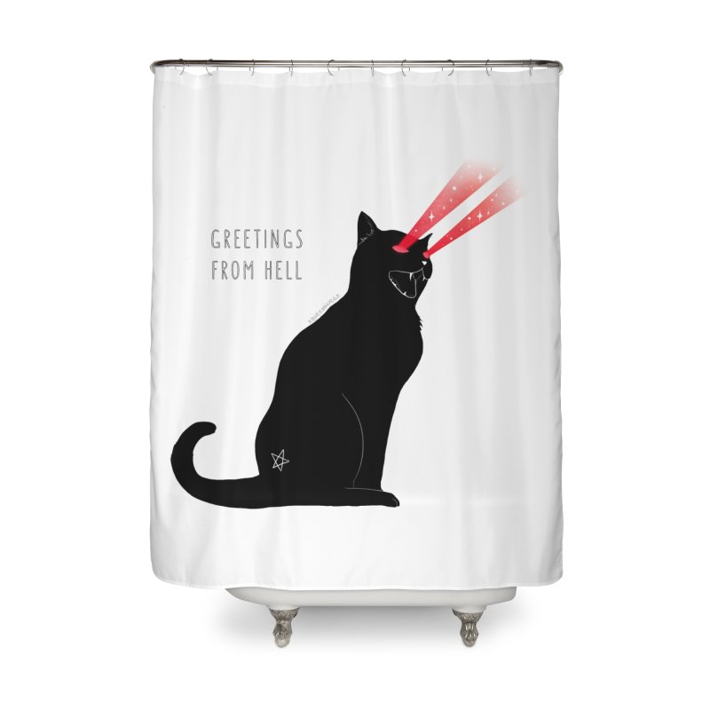 Greetings From Hell Home Shower Curtain by DVRKSHINES SHIRTS