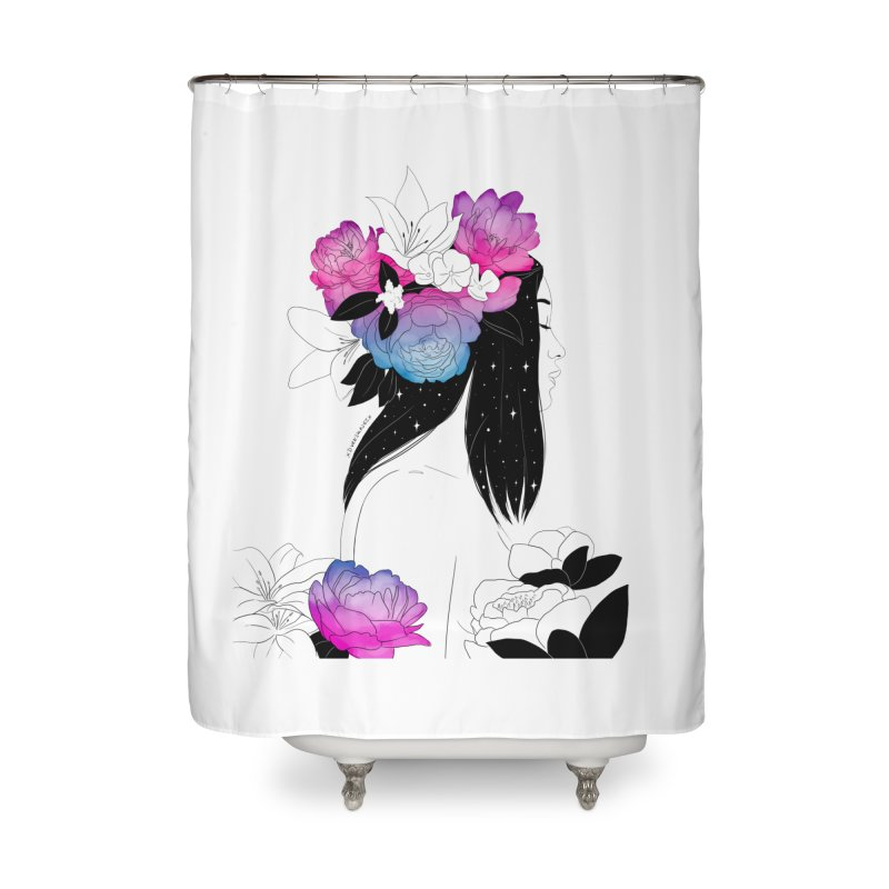 Floral Home Shower Curtain by DVRKSHINES SHIRTS