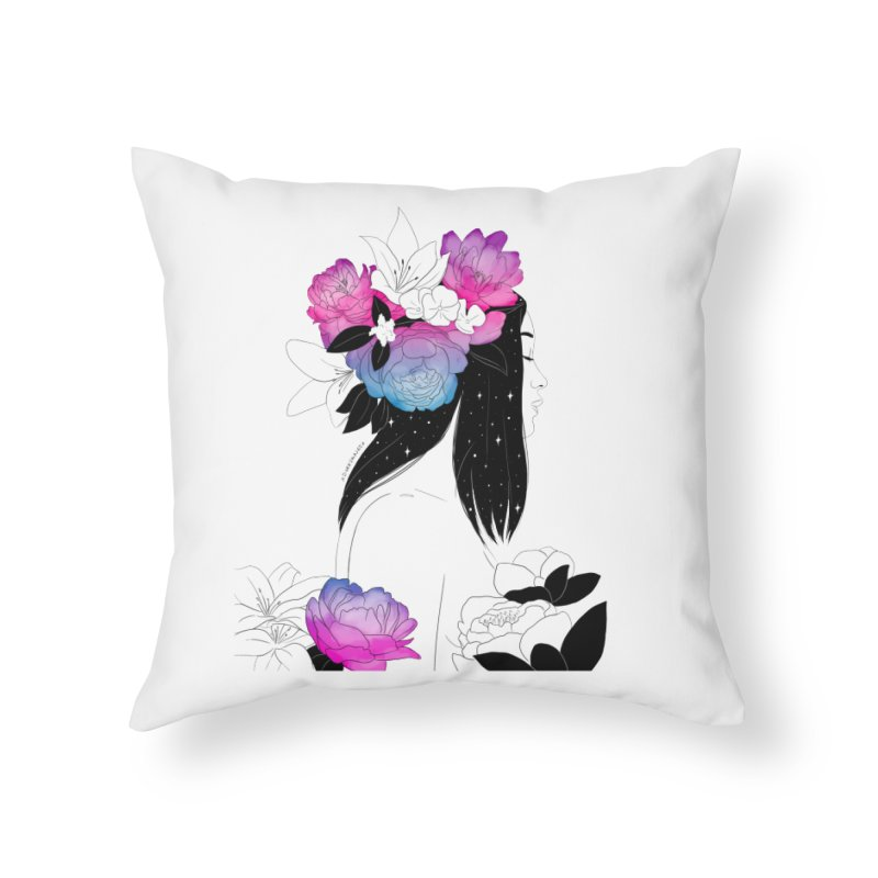 Floral Home Throw Pillow by DVRKSHINES SHIRTS