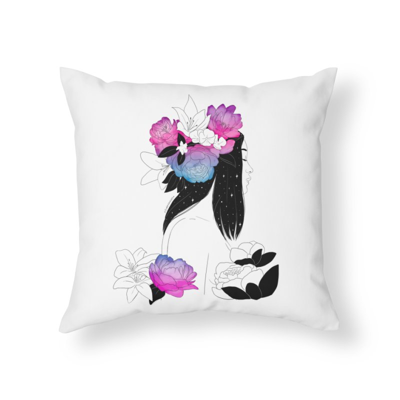 Floral Mind Home Throw Pillow by DVRKSHINES SHIRTS