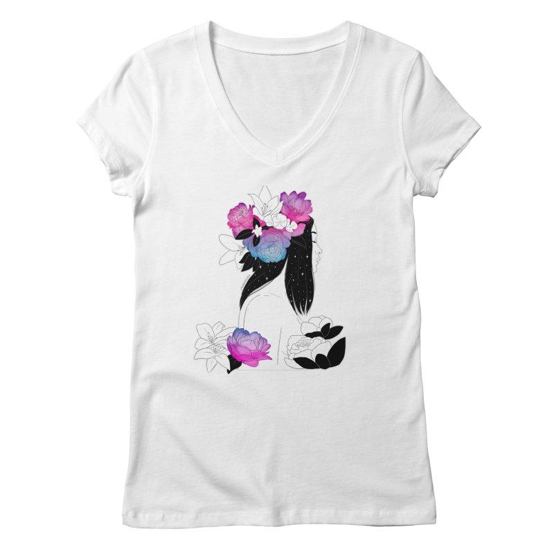 Floral Mind Women's V-Neck by DVRKSHINES SHIRTS
