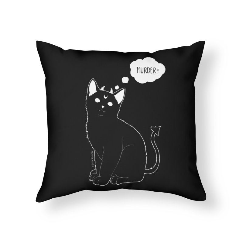 Murderkitty Home Throw Pillow by DVRKSHINES SHIRTS
