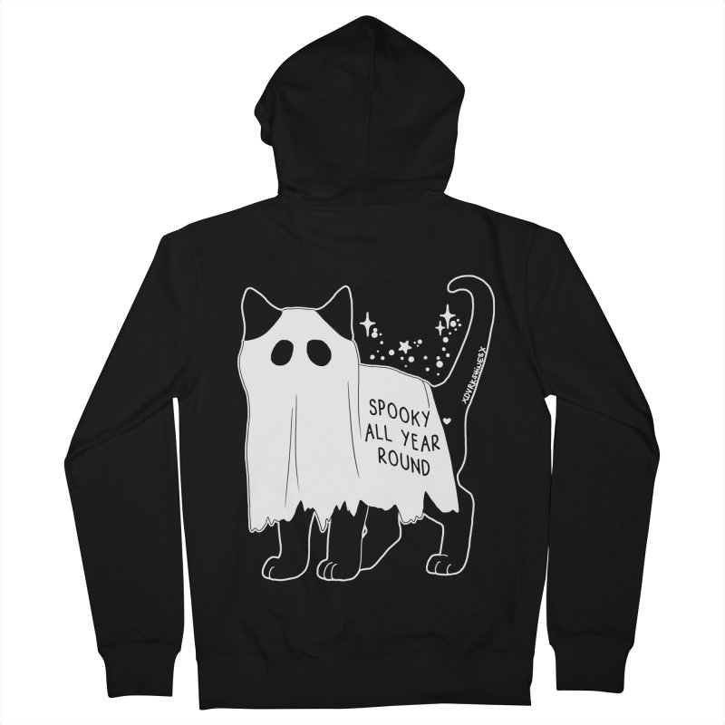 Spooky Kitty Men's French Terry Zip-Up Hoody by DVRKSHINES SHIRTS