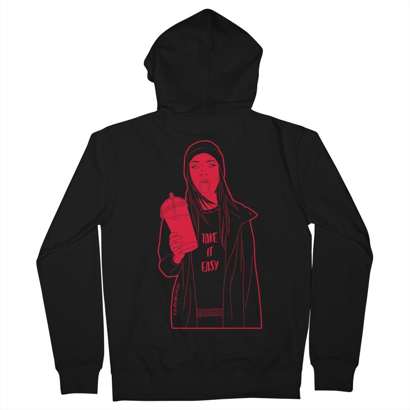 Take It Easy RED Men's French Terry Zip-Up Hoody by DVRKSHINES SHIRTS