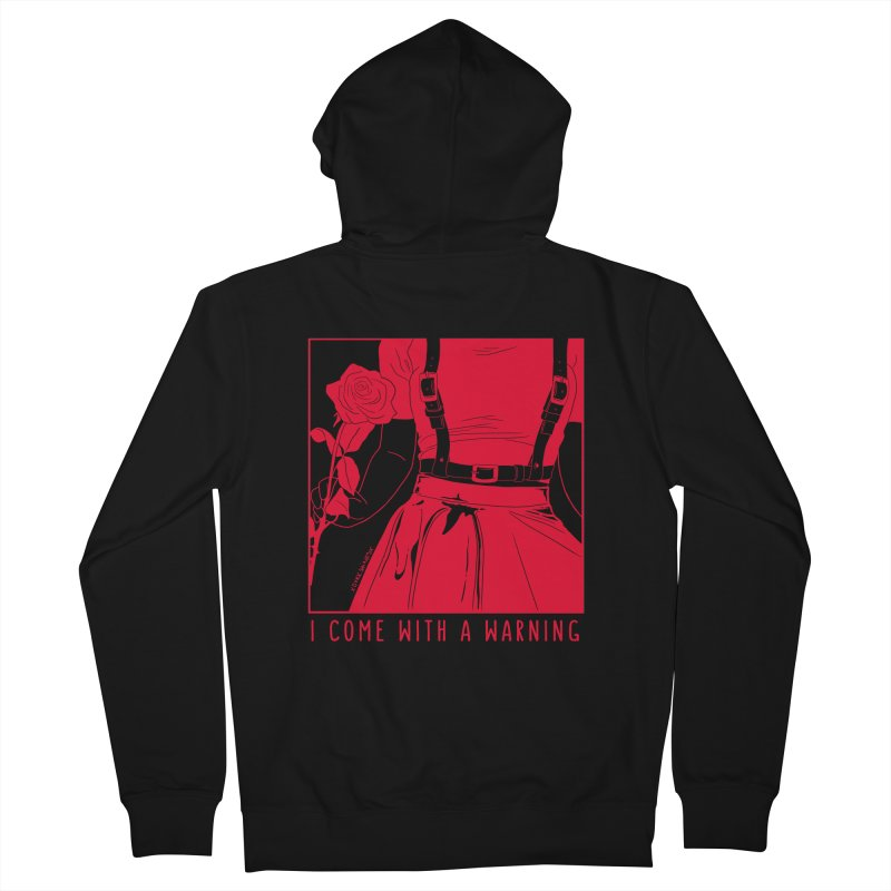 I Come With A Warning RED Men's French Terry Zip-Up Hoody by DVRKSHINES SHIRTS