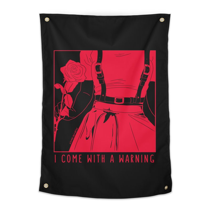 I Come With A Warning RED Home Tapestry by DVRKSHINES SHIRTS
