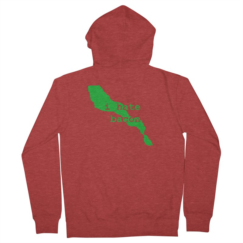 I Hate Bacon Men's French Terry Zip-Up Hoody by Korok Studios Artist Shop