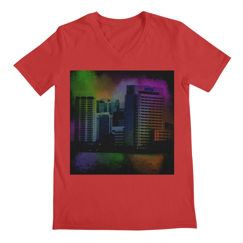 Dark City 4981 Men's Regular V-Neck by Korok Studios Artist Shop
