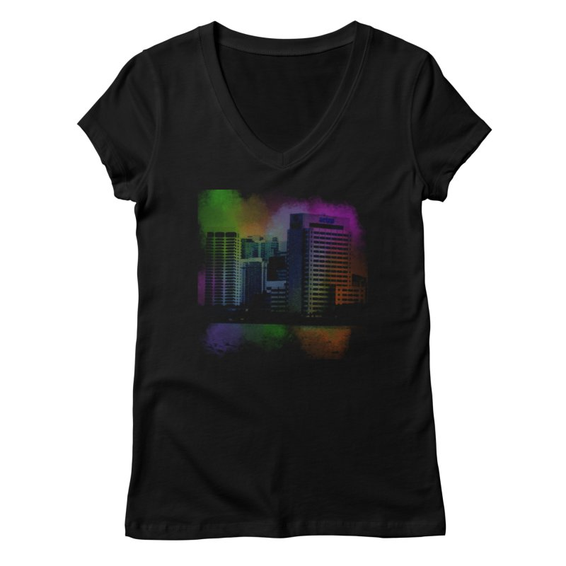 Dark City 4981 Women's Regular V-Neck by Korok Studios Artist Shop