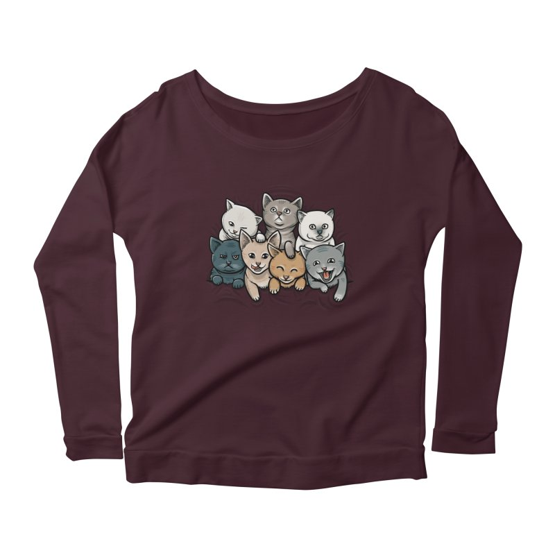 KITTENS Women's Longsleeve Scoopneck  by dzeri29's Artist Shop