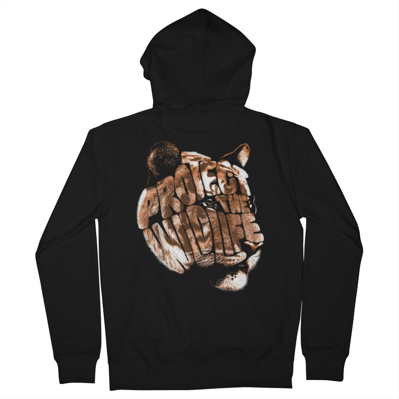 PROTECT THE WILDLIFE Men's French Terry Zip-Up Hoody by dzeri29's Artist Shop
