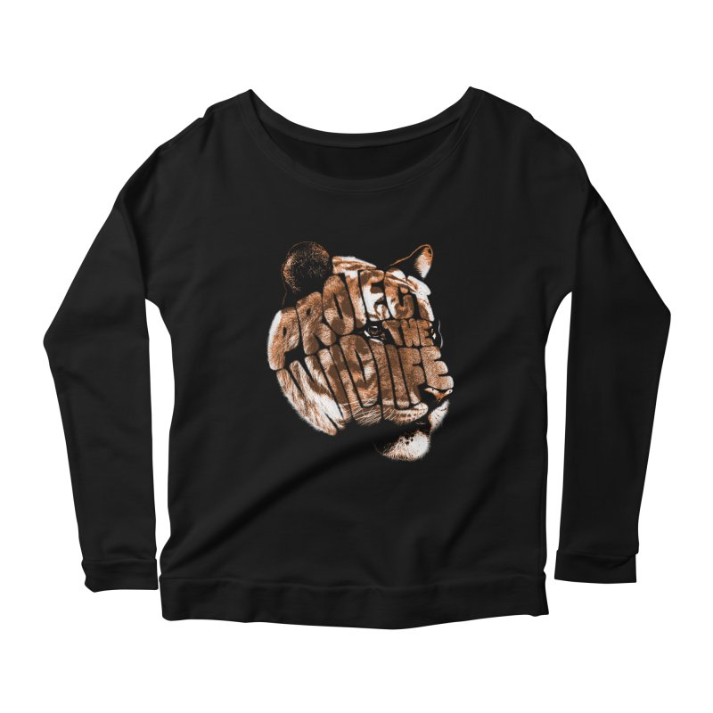 PROTECT THE WILDLIFE Women's Longsleeve Scoopneck  by dzeri29's Artist Shop