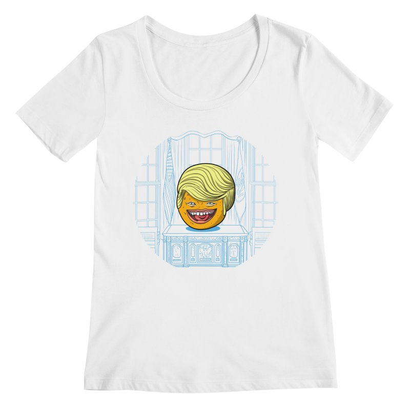 Annoying Orange in the White House Women's Scoopneck by dZus's Artist Shop