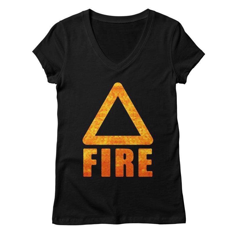 Fire Sign Women's V-Neck by earthfiredragon