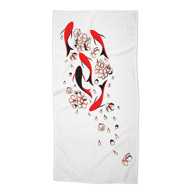 Women Warrior (4) - Fishes in the pond Accessories Beach Towel by Eastern Cloud's Artist Shop