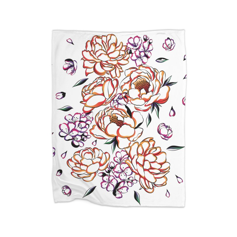 Women Warrior - Blooming flowers Home Fleece Blanket Blanket by Eastern Cloud's Artist Shop
