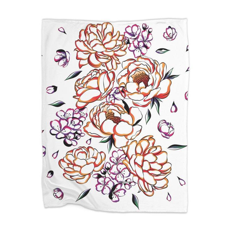Women Warrior - Blooming flowers Home Blanket by Eastern Cloud's Artist Shop