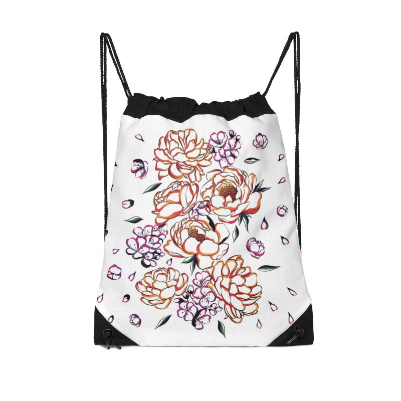 Women Warrior - Blooming flowers Accessories Drawstring Bag Bag by Eastern Cloud's Artist Shop