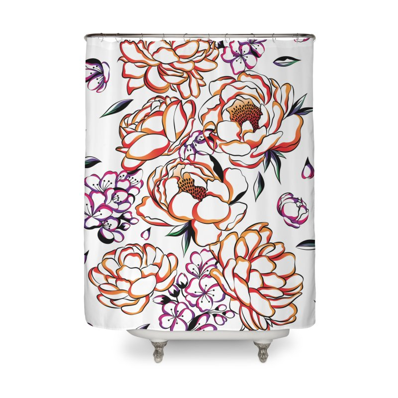 Women Warrior - Blooming flowers Home Shower Curtain by Eastern Cloud's Artist Shop