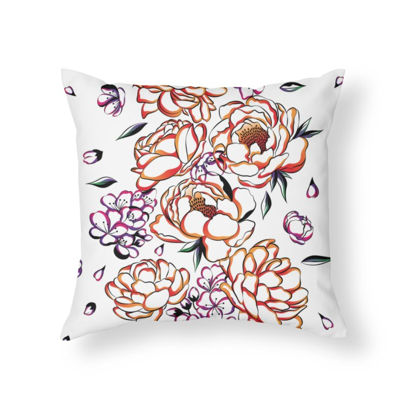 Women Warrior - Blooming flowers Home Throw Pillow by Eastern Cloud's Artist Shop