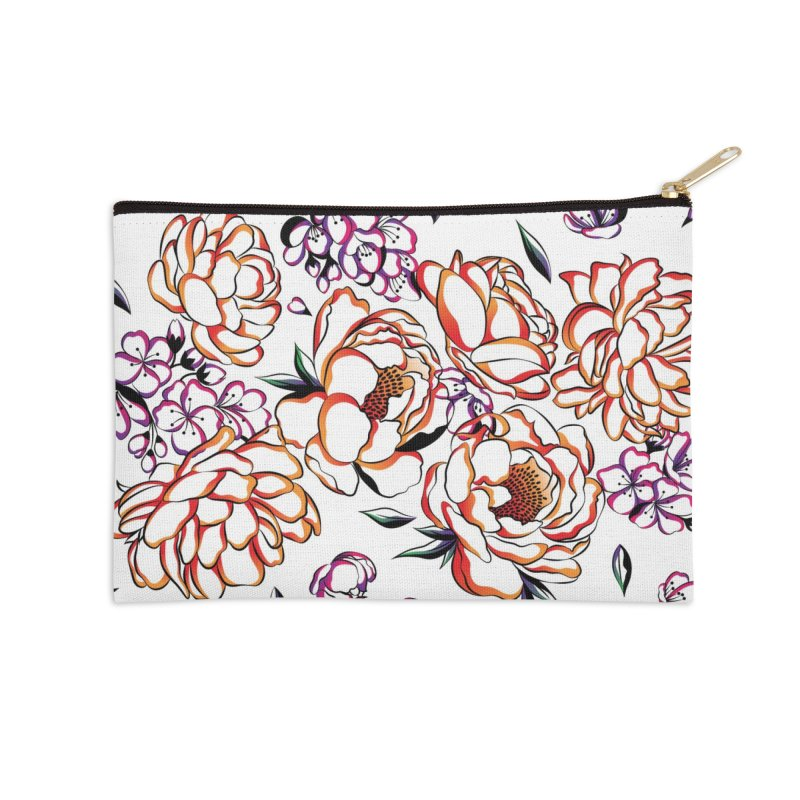 Women Warrior - Blooming flowers Accessories Zip Pouch by Eastern Cloud's Artist Shop