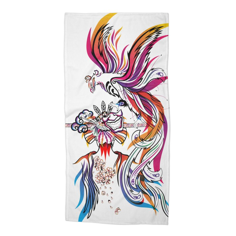 Women Warrior (2) - Women Warrior and Her Phoenix Accessories Beach Towel by Eastern Cloud's Artist Shop