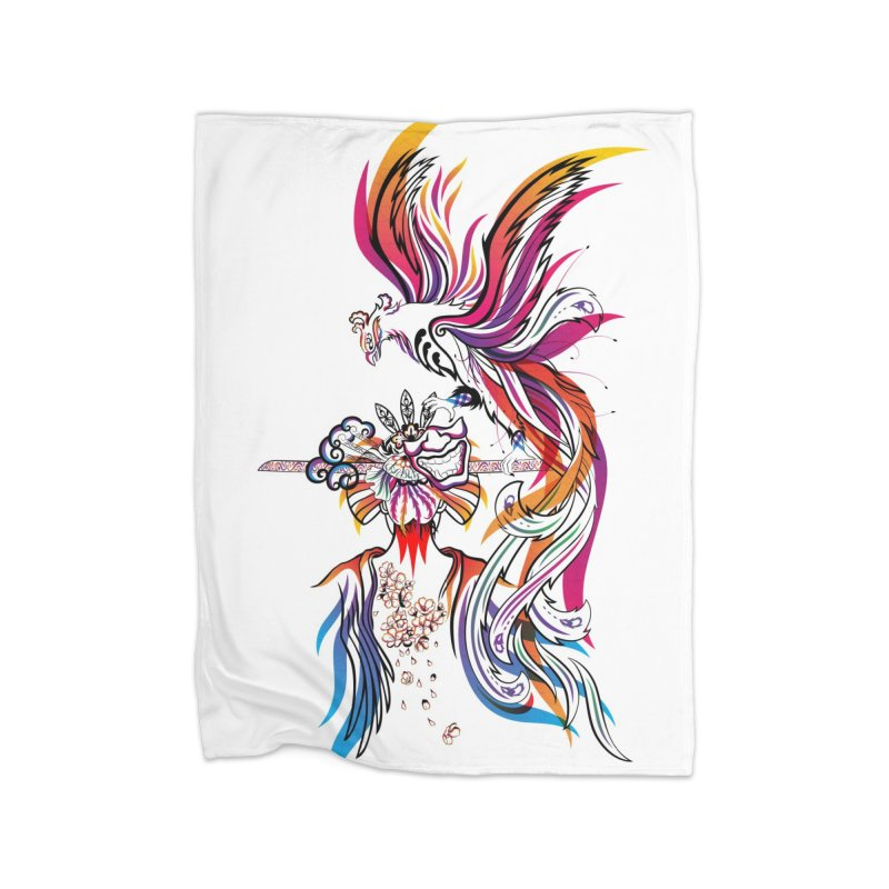 Women Warrior (2) - Women Warrior and Her Phoenix Home Fleece Blanket Blanket by Eastern Cloud's Artist Shop