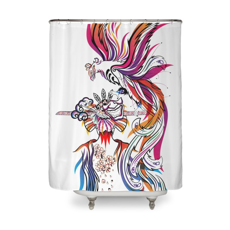 Women Warrior (2) - Women Warrior and Her Phoenix Home Shower Curtain by Eastern Cloud's Artist Shop